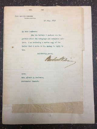 TLS BETWEEN PRESIDENT WOODROW WILSON AND POSTMASTER GENERAL ALBERT S. BURLESON REGARDING THE...