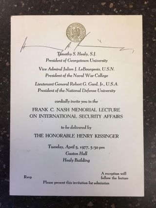 INVITATION SIGNED BY HENRY KISSINGER. Henry Kissinger