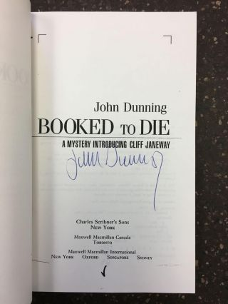 BOOKED TO DIE [SIGNED]. John Dunning