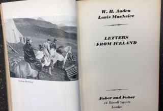 LETTERS FROM ICELAND [SIGNED]. W. H. Auden
