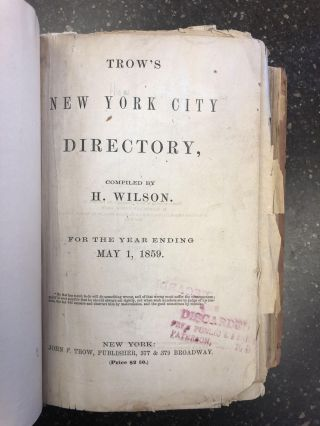 TROW'S NEW YORK CITY DIRECTORY. H. Wilson