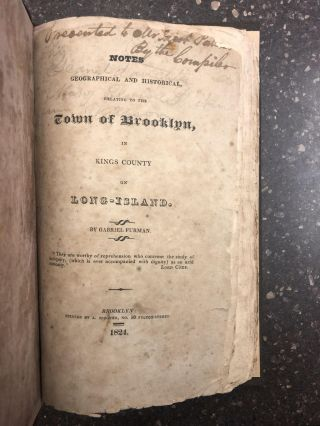 NOTES GEOGRAPHICAL AND HISTORICALF, RELATING TO THE TOWN OF BROOKLYN, IN KINGS COUNTY ON...