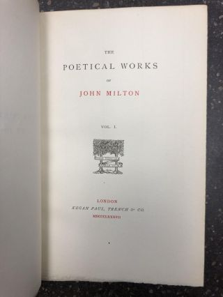 THE POETICAL WORKS OF JOHN MILTON [TWO VOLUMES]. John Milton