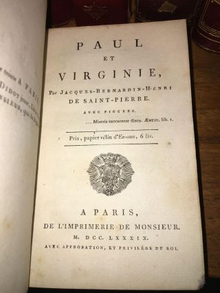 PAUL ET VIRGINIE [AND] PAUL AND MARY, AN INDIAN STORY [THREE VOLUMES TOTAL] [WITH LETTER WRITTEN AND SIGNED BY SAINT-PIERRE] [EXTRA-ILLUSTRATED WITH 70 PROOFS BEFORE LETTERS]