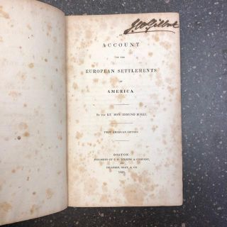 AN ACCOUNT OF THE EUROPEAN SETTLEMENTS IN AMERICA