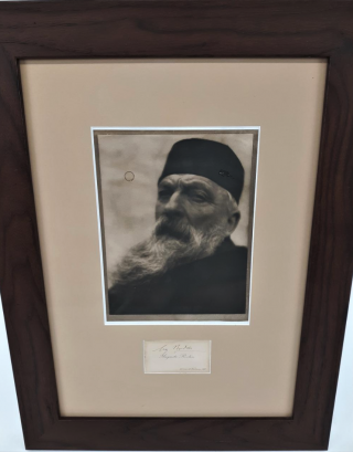 Photograph of Auguste Rodin with Rodin's Autograph. Auguste Rodin