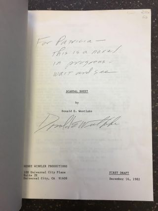 SCANDAL SHEET [SIGNED]. Donald E. Westlake