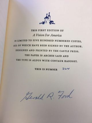 A VISION FOR AMERICA [SIGNED]. Gerald Ford