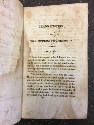 FRANKENSTEIN; OR, THE MODERN PROMETHEUS [TWO VOLUMES]