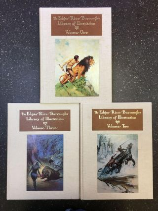 EDGAR RICE BURROUGHS LIBRARY OF ILLUSTRATION [THREE VOLUMES]. Edgar Rice Burroughs, Russ Cochran