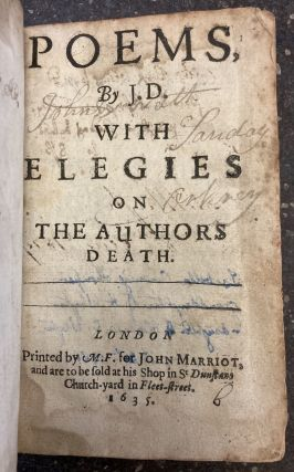 POEMS, BY J.D. WITH ELEGIES ON THE AUTHORS DEATH