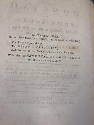 THE DUNCIAD, IN FOUR BOOKS. PRINTED ACCORDING TO THE COMPLETE COPY FOUND IN THE YEAR 1742. WITH THE PROLEGOMENA OF SCRIBLERUS, AND NOTES VARIORUM. TO WHICH ARE ADDED, SEVERAL NOTES NOW FIRST PUBLISH'D, THE HYPERCRITICS OF ARISTARCHUS, AND HIS DISSERTATION ON THE HERO OF THE POEM
