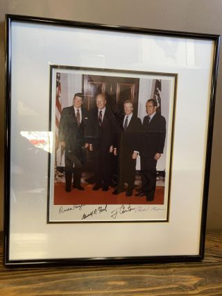 SIGNED PHOTOGRAPH OF PRESIDENTS REAGAN, FORD, CARTER, AND NIXON. Ronald Reagan, Gerald R. Ford,...