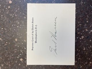 EARL WARREN SIGNED CARD. Earl Warren