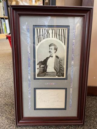 MARK TWAIN AUTOGRAPH FRAMED. Mark Twain