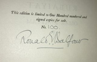 THE RUBAIYAT OF OMAR KHAYYAM [SIGNED]