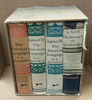 THE AMERICAN LANGUAGE REFERENCE LIBRARY [4 VOLUMES]. H. L. Mencken, Henry Louis