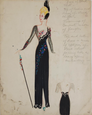 Black Velvet Floral Evening Gown (ref #19). Montedoro