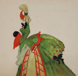 Green Bustle Gown (ref #32A). Montedoro
