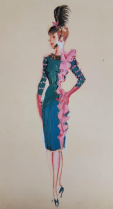 Pencil Dress In Teal And Pink (ref #34). Montedoro