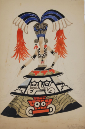 "Female ""Aztec"" Dancer Costume Design (ref #37A). Montedoro"