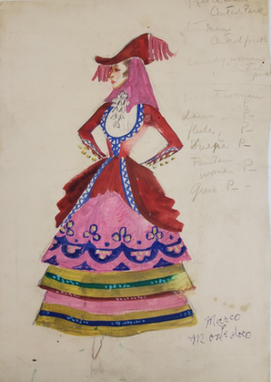 Red and Pink Costume with Tiered Skirt (ref #40). Montedoro